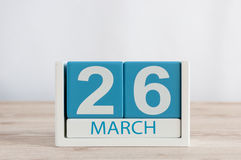 March 26th. Day 26 of month, daily calendar on wooden table background. Spring time, empty space for text Stock Photos