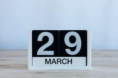 March 29th. Day 29 of month, everyday calendar on wooden table background. Spring time, empty space for text. March 29th. Cube calendar for march 29 on wooden Royalty Free Stock Photos
