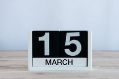March 15th. Day 15 of month, everyday calendar on wooden table background. Spring time, empty space for text. World Stock Image