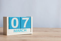 March 7th. Day 7 of month, wooden color calendar on table background. Spring day, empty space for text. March 7th. Image of march 7 wooden color calendar on stock photography