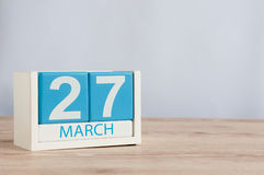 March 27th. Day 27 of month, wooden color calendar on table background. Spring time, empty space for text. World Theatre Stock Photos