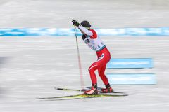 2018 March 13th. Peyongchang 2018 Paralympic games in South Korea. Biathlon stock photo