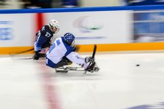 2018 March 15th. Peyongchang 2018 Paralympic games in South Korea. Sled hockey, Italy Vs USA royalty free stock photo