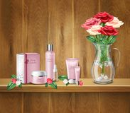 March 8th Realistic Background. March 8th women day realistic background with bouquet of roses in vase face and body care products on wooden shelf vector Royalty Free Stock Image