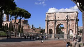 March 8th 2020, Rome, Italy: View of the Arch of Constantine with few tourists due to the coronavirus