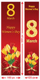 March 8th skyscraper banner set for Women's Day. Royalty Free Stock Image