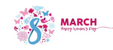 March 8th Women`s Day pink flower banner design. Happy Women`s Day 2018 floral illustration, feminine design with March 8th text quote and pink spring decoration Royalty Free Illustration