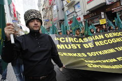 March to protest Circassian genocide. Istanbul,Turkey-May 20,2012: Circassian activist group protest 'genocide and exile of 1864' on May 20, 2012 in Istanbul Royalty Free Stock Photos