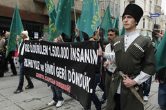 March to protest Circassian genocide. Istanbul,Turkey-May 20,2012: Circassian activist group protest 'genocide and exile of 1864' on May 20, 2012 in Istanbul Royalty Free Stock Image