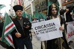 March to protest Circassian genocide. Istanbul,Turkey-May 20,2012: Circassian activist group protest 'genocide and exile of 1864' on May 20, 2012 in Istanbul Stock Images