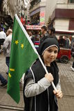 March to protest Circassian genocide. Istanbul,Turkey-May 20,2012: Circassian activist group protest 'genocide and exile of 1864' on May 20, 2012 in Istanbul Royalty Free Stock Photography