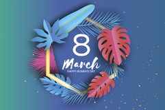 8 March. Tropical palm leaves, plants. Paper cut style. Exotic Hawaiian holidays. Space for text. Hexagon frame. Happy. Women s Day. 8 March. Mother s Day stock illustration