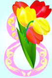 8 March with tulips. 8 March with red and yellow tulips stock illustration