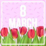 8 March typographic poster with red tulips and memphis style. Typographic poster design with flowers Stock Photos