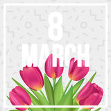 8 March typographic poster with tulips bouquet. Typographic spring poster with tulips Stock Images