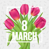 8 March typographic spring poster with tulips bouquet. Typographic poster design with flowers Royalty Free Stock Images