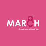 MARCH Typographical Design Elements. International women`s day. Icon.Women`s day symbol.Minimalistic design for international women`s day concept.Vector Royalty Free Stock Photo