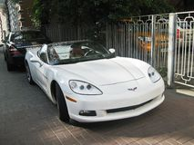 March 13, 2014, Ukraine, Kharkov; Chevrolet Corvette. White convertible royalty free stock photography