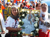 March for unification of Romania and Moldova july 2015 Royalty Free Stock Photos