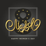 8 of March vector background design. Happy women day holiday ban. Ner layout. Greeting letter or postcard element with number eight symbol and leaves. Party or Stock Illustration