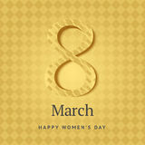 8 of March vector background design. Happy women day holiday ban. Ner layout. Greeting letter or postcard element with number eight symbol and leaves. Party or Royalty Free Stock Photos