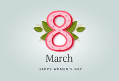 8 of March vector background design. Happy women day holiday ban. Ner layout. Greeting letter or postcard element with number eight symbol and leaves. Party or Royalty Free Stock Images