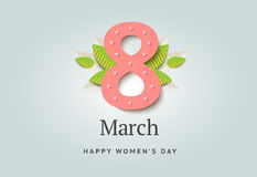 8 of March vector background design. Happy women day holiday ban. Ner layout. Greeting letter or postcard element with number eight symbol and leaves. Party or royalty free illustration