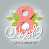 8 of March vector background design. Happy women day holiday ban. Ner layout. Greeting letter or postcard element with number eight symbol and leaves. Party or Stock Image