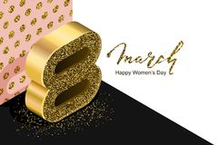 8 March vector bannerd, International Women`s Day. Golden number eight in 3d isometric style. On white pink black background. Holiday design elements for royalty free illustration