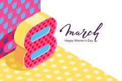 8 March vector bannerd, International Women`s Day. Number eight in 3d isometric style on floral pattern background. 8 March vector horizontal bannerd Stock Image