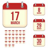 March vector calendar icons Stock Photography