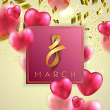 8 march vector card. Pink colored hearts illustration Royalty Free Stock Photos