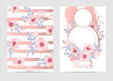 8 march vector card. Pink wild Roses illustration Stock Photo