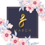 8 march vector card. Pink wild Roses illustration Stock Photography