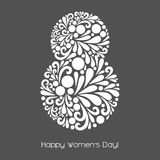 8 March. Vector decoration made from swirl shapes. Greeting, invitation card. Simple decorative gray and white illustration for print, web. Happy Women's Day Royalty Free Stock Photos