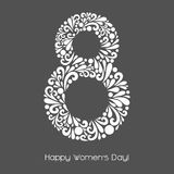 8 March. Vector decoration made from swirl shapes. Greeting, invitation card. Simple decorative gray and white illustration for print, web. Happy Women's Day Stock Images