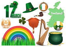 17 March. Vector icons set for St. Patricks Day. Vector icons set for St. Patricks Day. 17 March. Leprechaun hat, red beard, smoking pipe, clover, horseshoe stock illustration