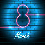 8 March Vector illustration. Neon bright lamp in shape of the inscription 8 March on brick wall Realistic style vector illustration