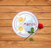 8 march vector illustration with number eight shaped heart omele. Happy women`s day vector illustration with number eight shaped heart omelette on plate with royalty free illustration