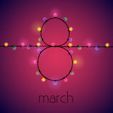 8 march Vector illustration. The number 8 is lined with garlands of colored lights Postcard template for International women`s day Royalty Free Stock Image