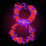 8 March. Vector illustration to The International women`s day. Number eight made of flowers with ribbon Royalty Free Illustration
