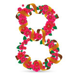 8 March. Vector illustration to The International women`s day. Number eight made of flowers with ribbon Stock Illustration