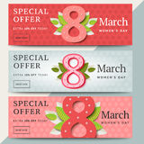8 of March vector sale banner design. Happy women day holiday pr. Omo website layout. Special offer letterpress background with number eight and leaves. Social royalty free illustration