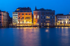 March 2017 Venice, Italy. Palazzos on the Grand Canal at night during blue hour Royalty Free Stock Photos