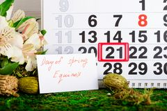 March 21 vernal equinox, spring calendar. March 21 vernal equinox, a spring calendar concept stock photos