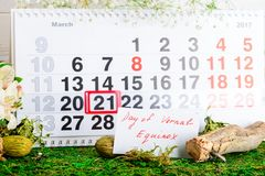 March 21 vernal equinox, spring calendar. March 21 vernal equinox, a spring calendar concept stock images