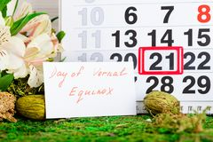 March 21 vernal equinox, spring calendar. March 21 vernal equinox, a spring calendar concept royalty free stock photo