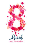 8 March vertical greeting card, flyer or banner, International Women's Day. Number eight made from pink watercolor blots and splashes. Vector hand drawn royalty free illustration
