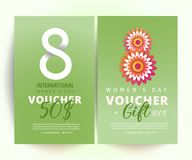 International women`s day voucher. 8 march voucher. 8 number 3d illustration with decoration on green background. Bright set of gift voucher 50 dollars discount Royalty Free Stock Image