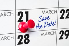 March 21. Wall calendar with a red pin - March 21 royalty free stock images